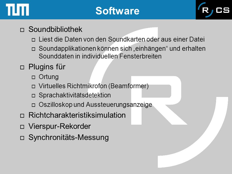Software Soundbibliothek Plugins für Richtcharakteristiksimulation