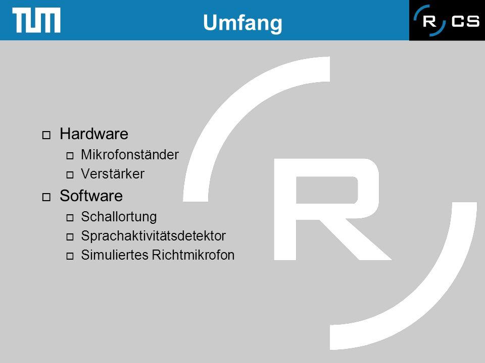 Umfang Hardware Software Mikrofonständer Verstärker Schallortung