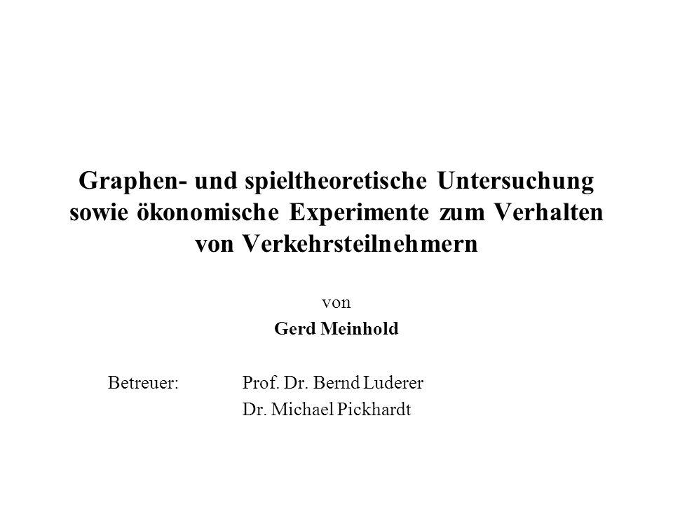 Graphen- und spieltheoretische Untersuchung sowie ökonomische Experimente zum Verhalten von Verkehrsteilnehmern