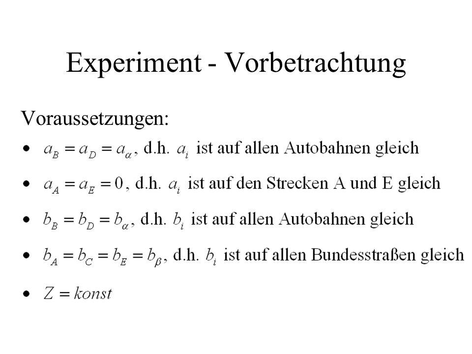 Experiment - Vorbetrachtung