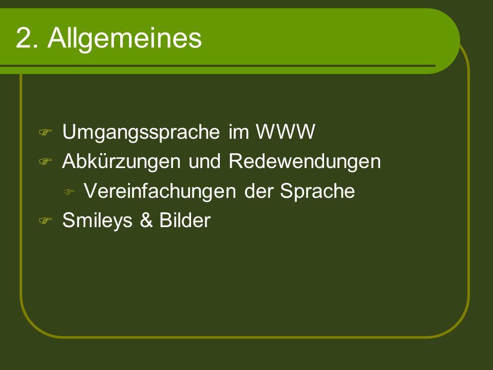 2. Allgemeines Umgangssprache im WWW Abkürzungen und Redewendungen