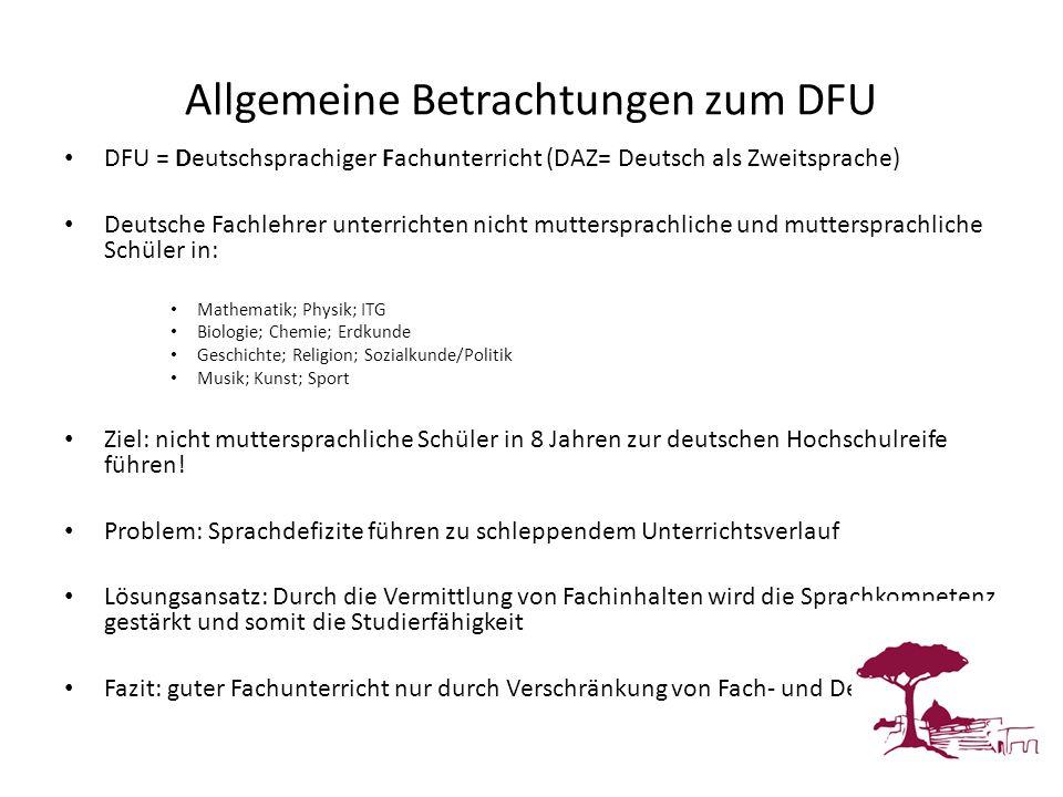 Allgemeine Betrachtungen zum DFU