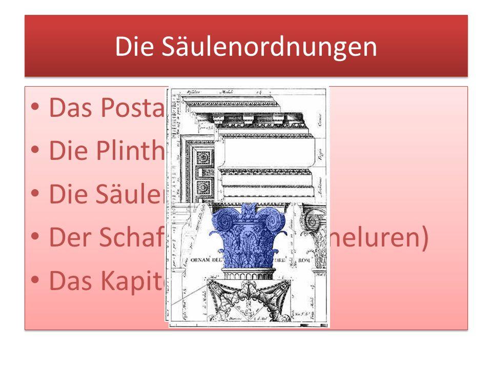 Die Säulenordnungen Das Postament. Die Plinthe. Die Säulenbasis. Der Schaft (oft mit Kanneluren)