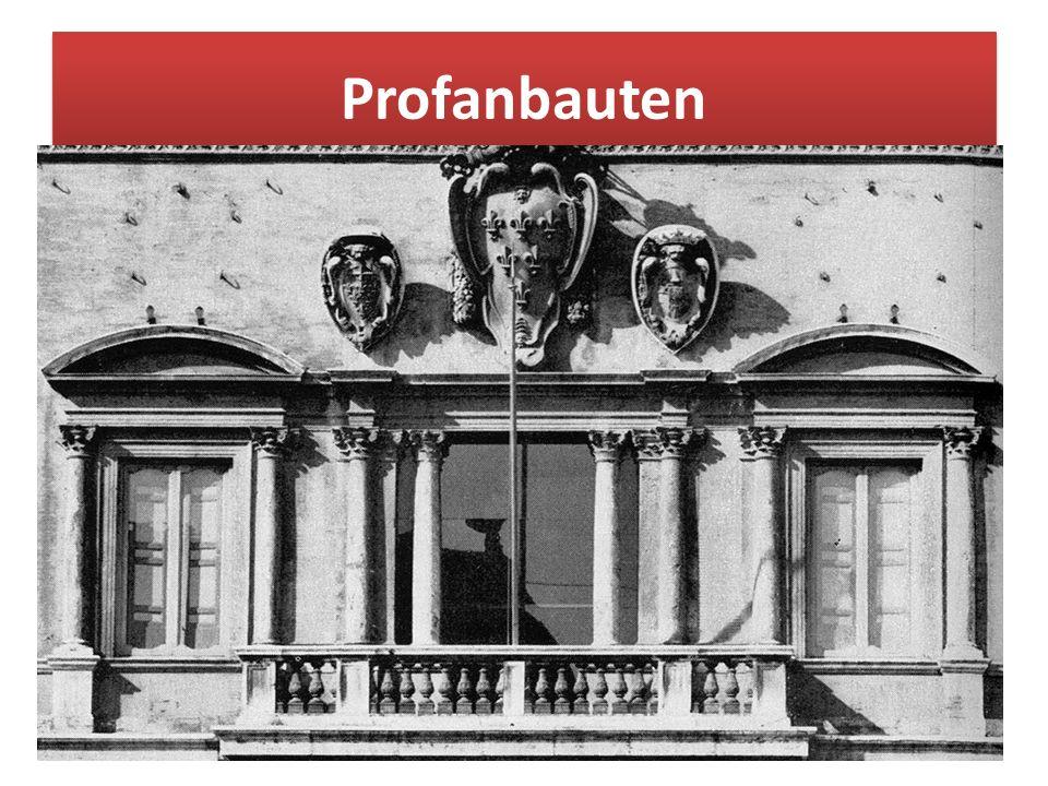 """Profanbauten Profan (lat.: """"pro = """"vor , """"fanum = """"heiliger Bezirk ) bedeutet """"vor dem geheiligten Bereich Liegendes . :"""