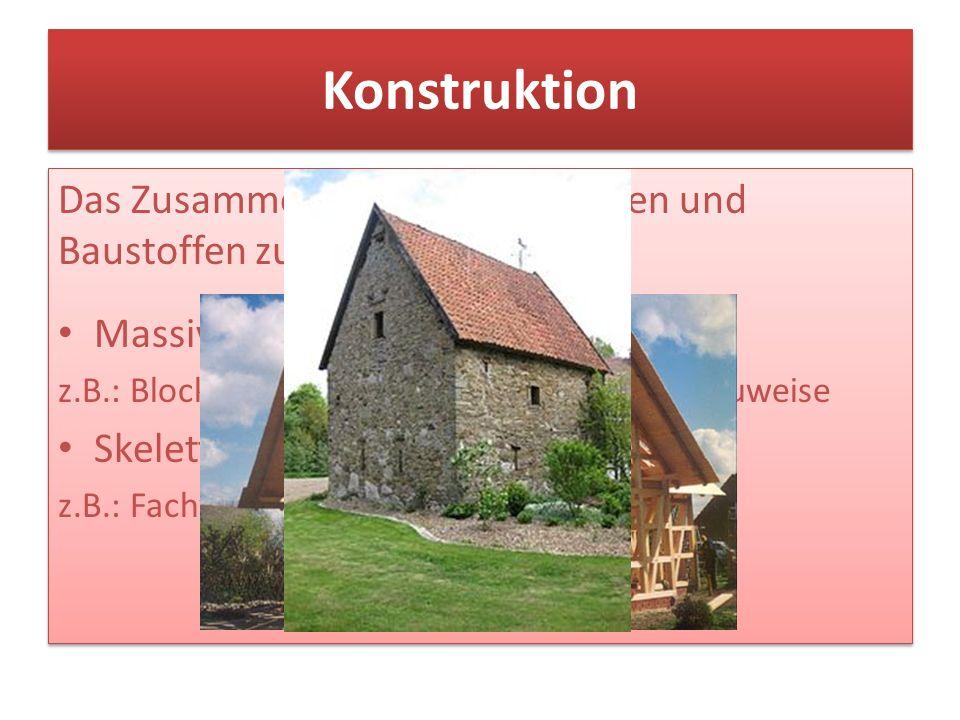 Konstruktion Das Zusammenfügen von Bauteilen und Baustoffen zu einem Bauwerk. Massivbau (Flächenbau)