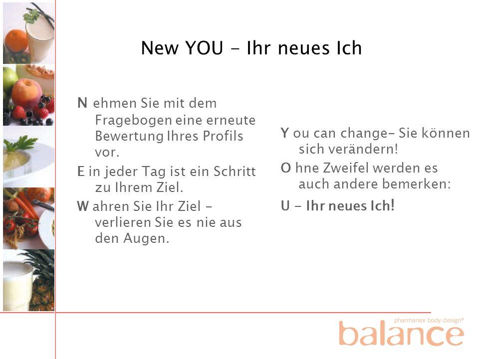 New YOU - Ihr neues Ich N ehmen Sie mit dem Fragebogen eine erneute Bewertung Ihres Profils vor. E in jeder Tag ist ein Schritt zu Ihrem Ziel.
