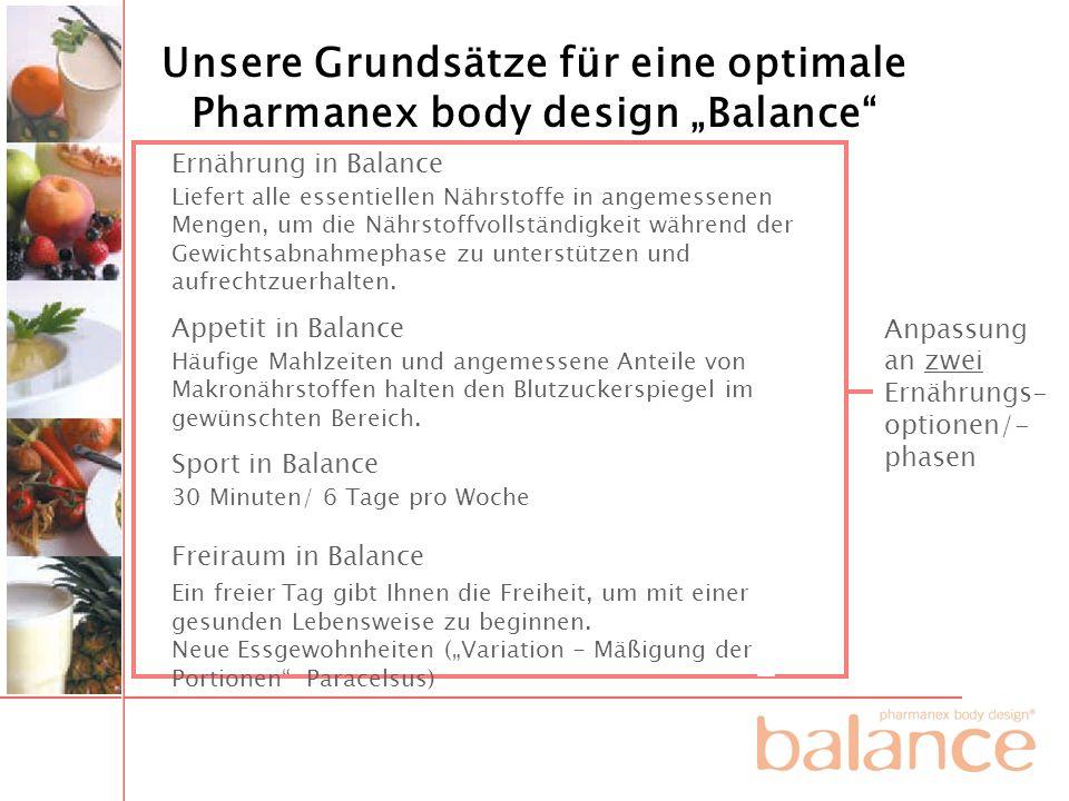 """Unsere Grundsätze für eine optimale Pharmanex body design """"Balance"""