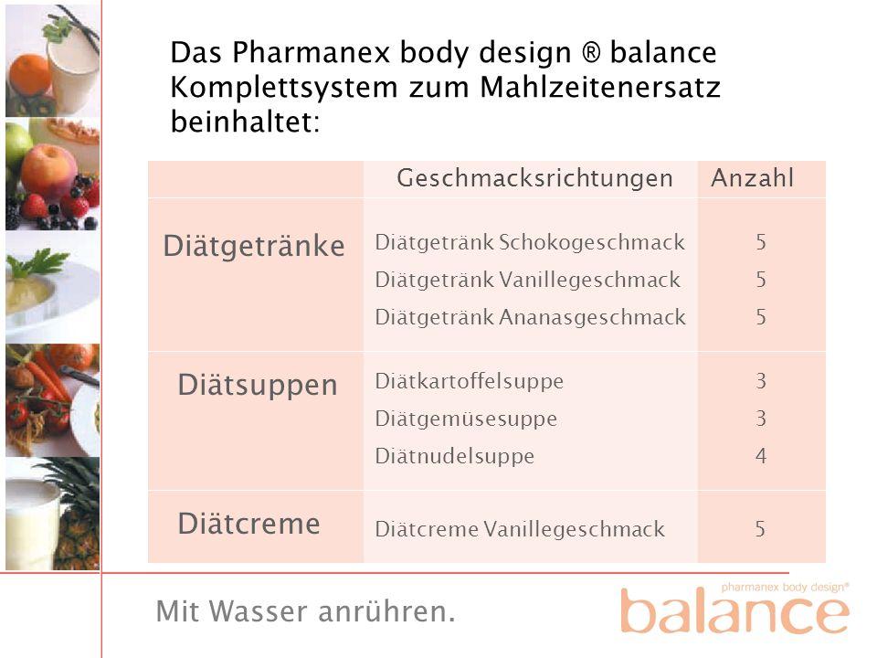 Das Pharmanex body design ® balance Komplettsystem zum Mahlzeitenersatz beinhaltet: