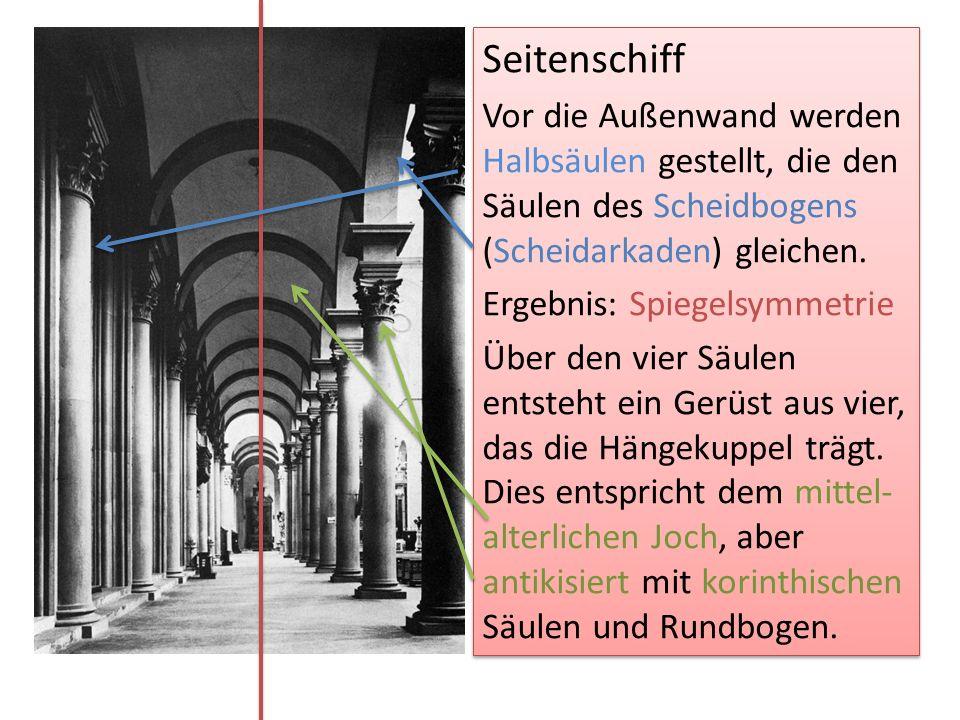 Seitenschiff Vor die Außenwand werden Halbsäulen gestellt, die den Säulen des Scheidbogens (Scheidarkaden) gleichen.