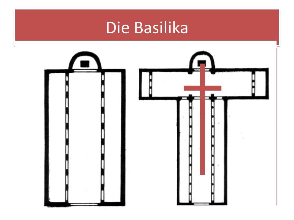 Die Basilika Hauptmerkmal der Basilika ist: Ein langgezogenes, höheres Mittelschiff mit Licht/Obergaden und niedrigere Seitenschiffe.