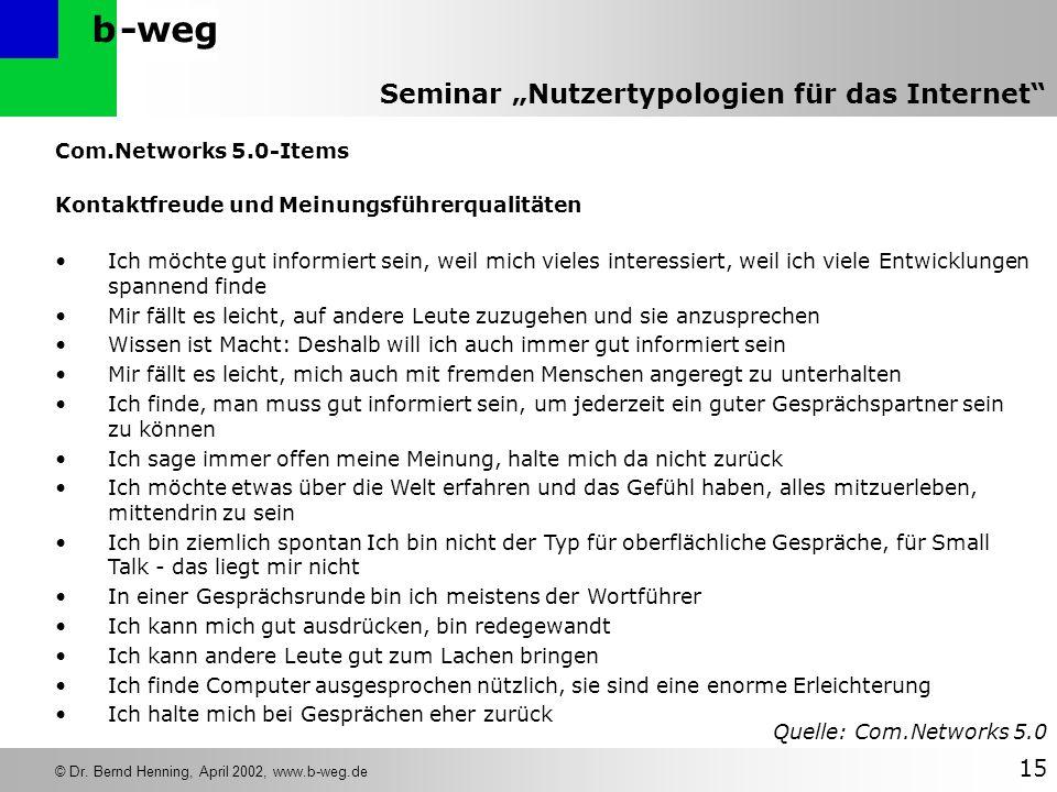 Com.Networks 5.0-Items Kontaktfreude und Meinungsführerqualitäten.