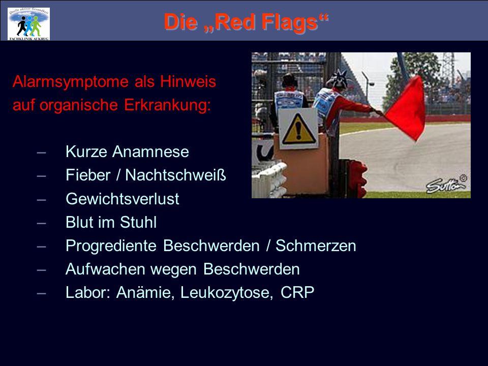 """Die """"Red Flags Alarmsymptome als Hinweis auf organische Erkrankung:"""