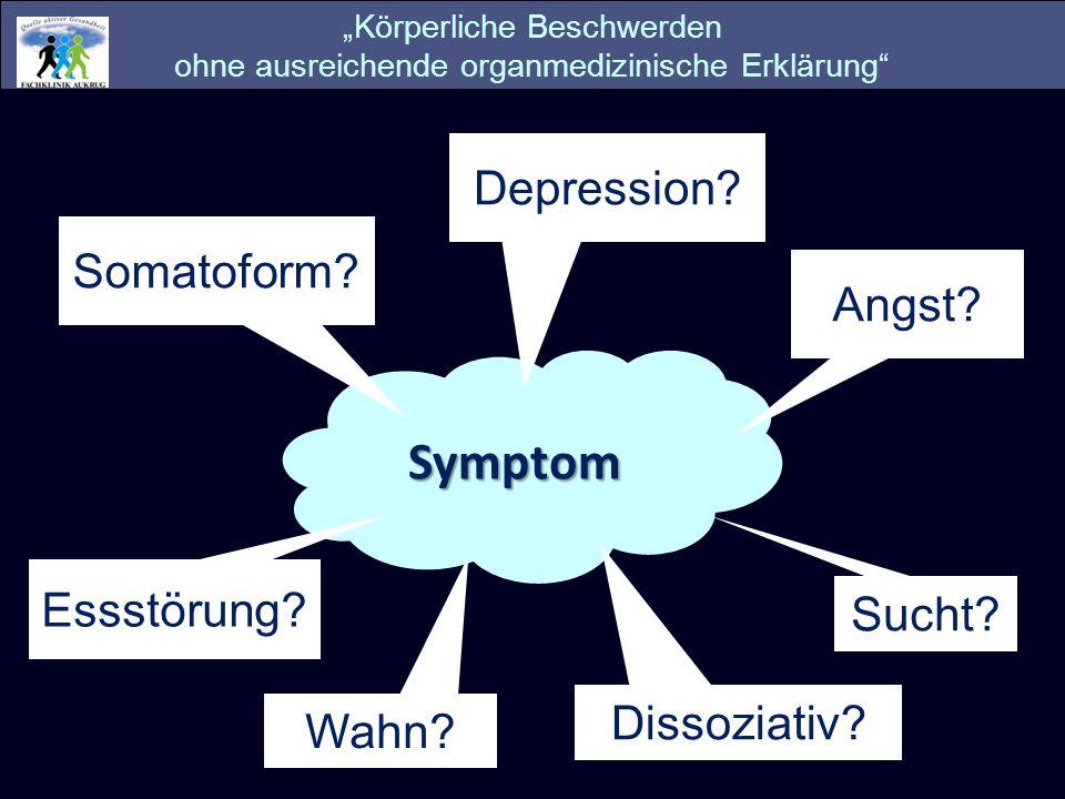 Symptom Depression Somatoform Angst Essstörung Sucht Dissoziativ