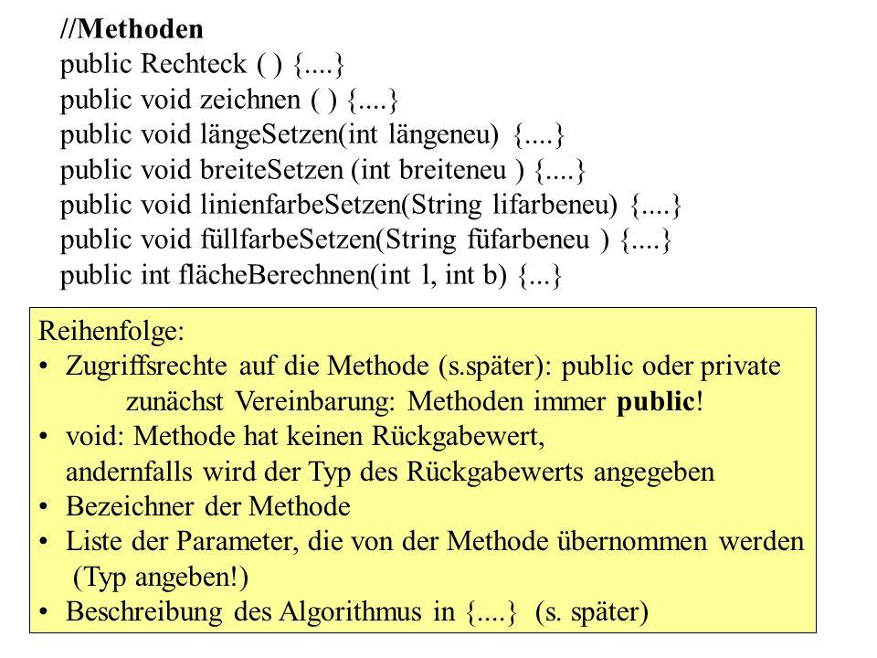 //Methoden public Rechteck ( ) {. } public void zeichnen ( ) {