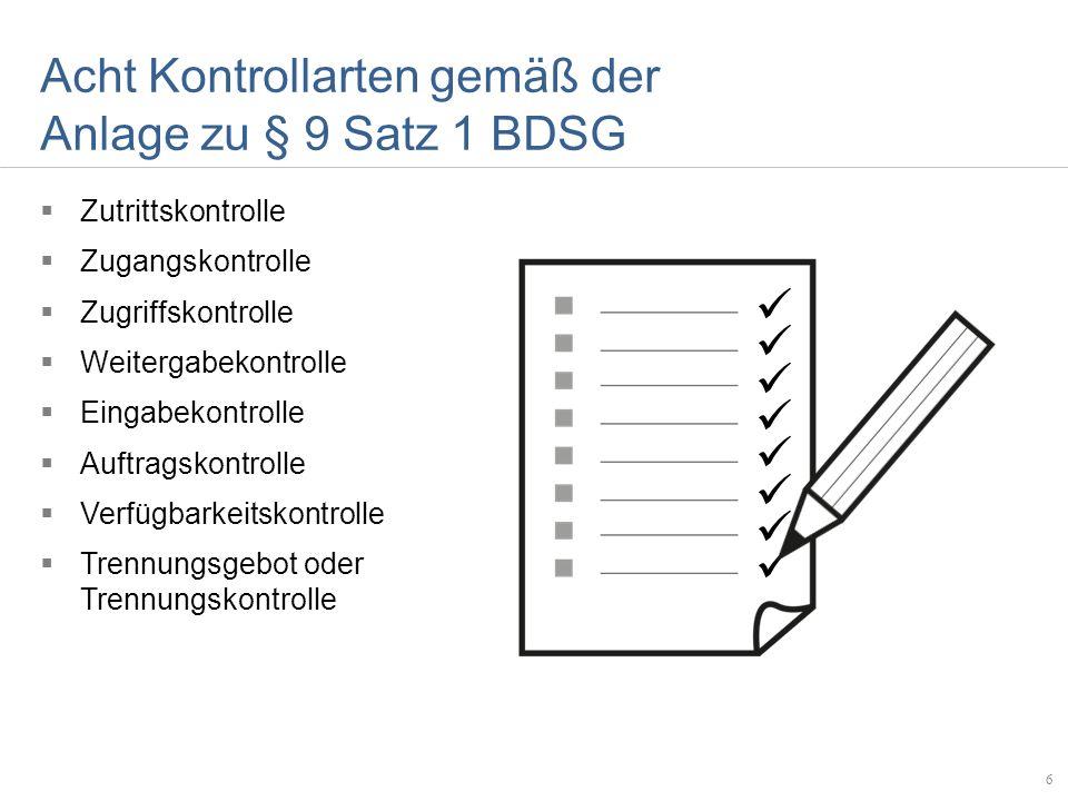 Acht Kontrollarten gemäß der Anlage zu § 9 Satz 1 BDSG