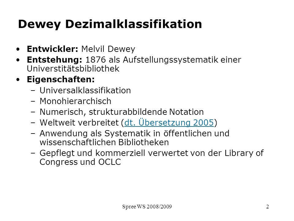 Dewey Dezimalklassifikation