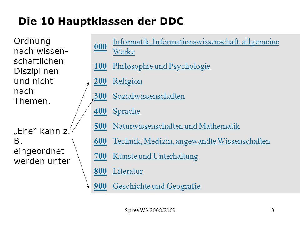 Die 10 Hauptklassen der DDC