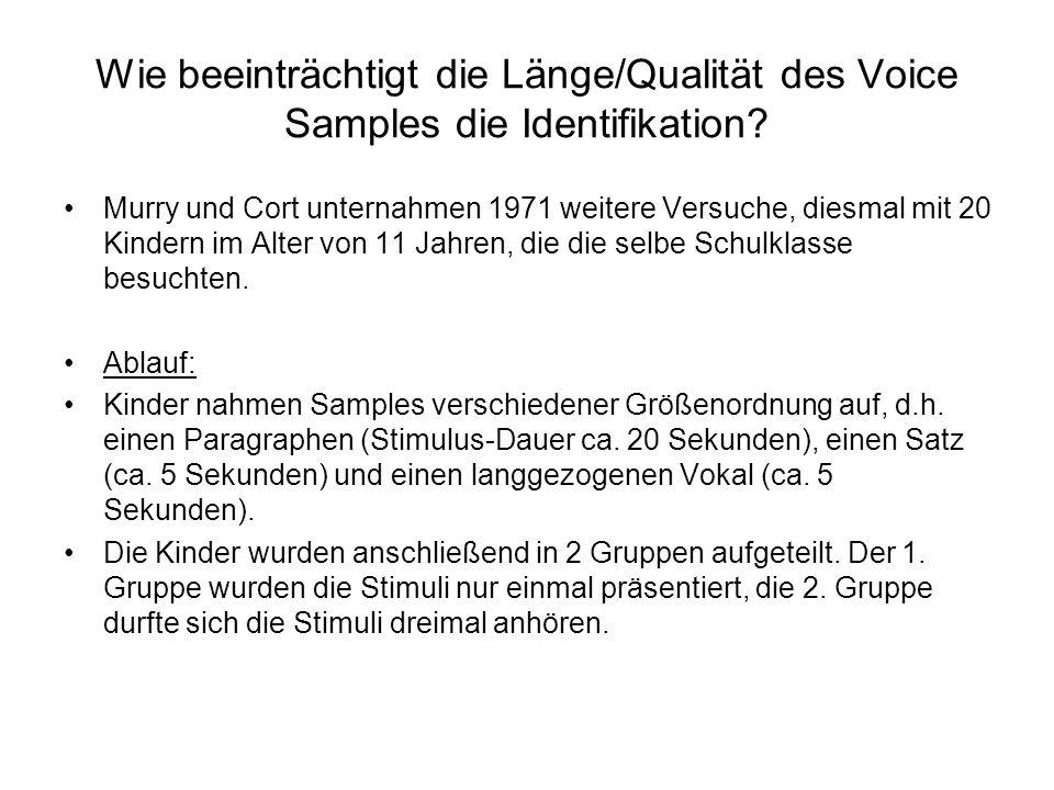 Wie beeinträchtigt die Länge/Qualität des Voice Samples die Identifikation