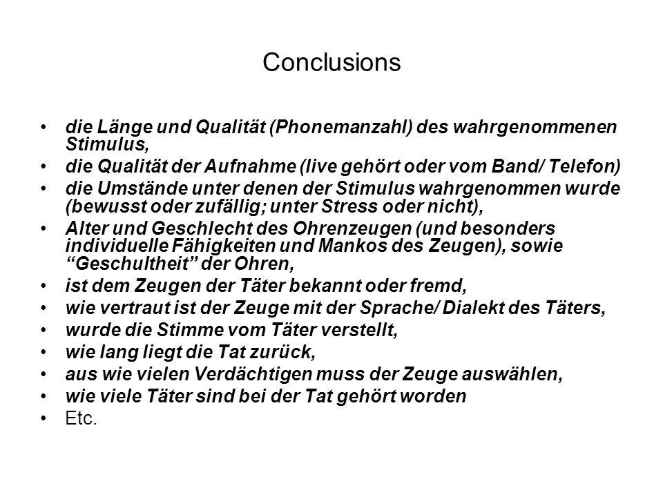 Conclusions die Länge und Qualität (Phonemanzahl) des wahrgenommenen Stimulus, die Qualität der Aufnahme (live gehört oder vom Band/ Telefon)
