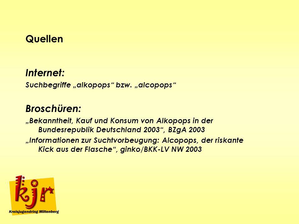 "Quellen Internet: Broschüren: Suchbegriffe ""alkopops bzw. ""alcopops"