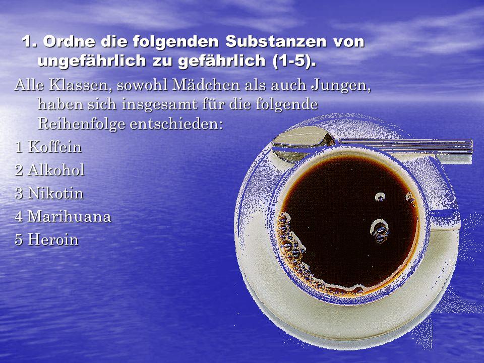 1. Ordne die folgenden Substanzen von ungefährlich zu gefährlich (1-5).