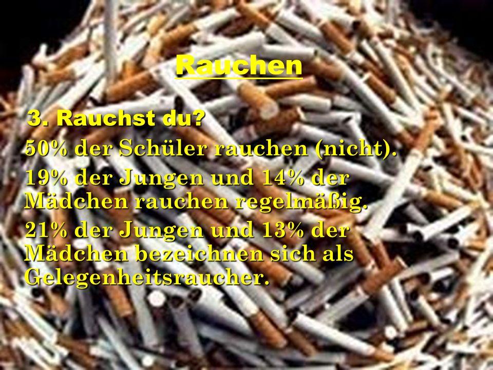 Rauchen 3. Rauchst du 50% der Schüler rauchen (nicht).