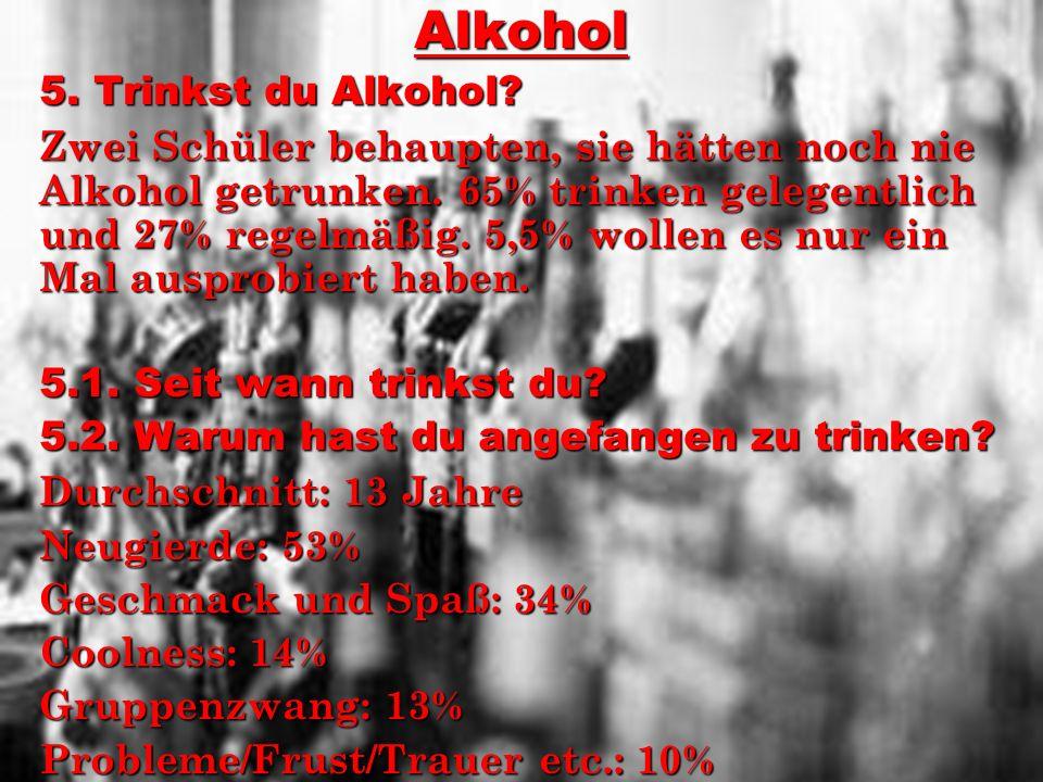 Alkohol 5. Trinkst du Alkohol