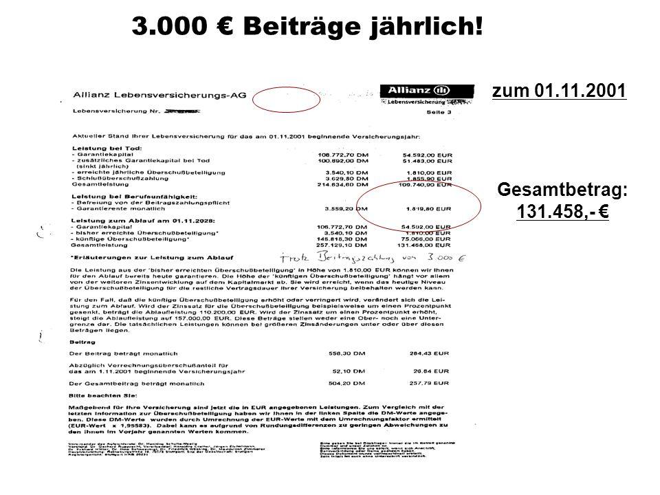3.000 € Beiträge jährlich! zum 01.11.2001 Gesamtbetrag: 131.458,- €