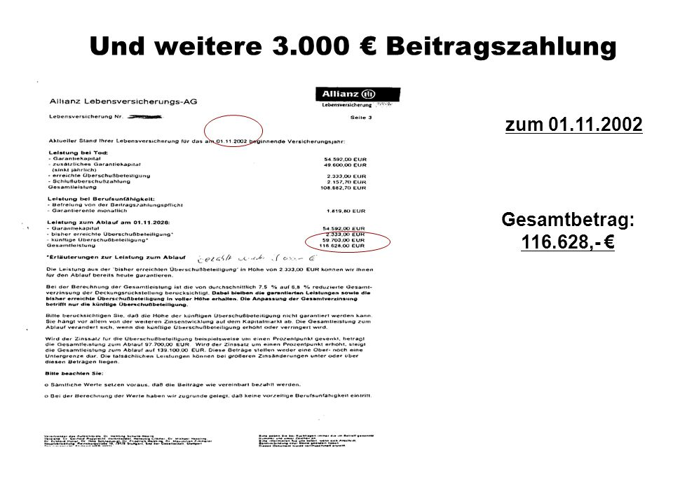 Und weitere 3.000 € Beitragszahlung