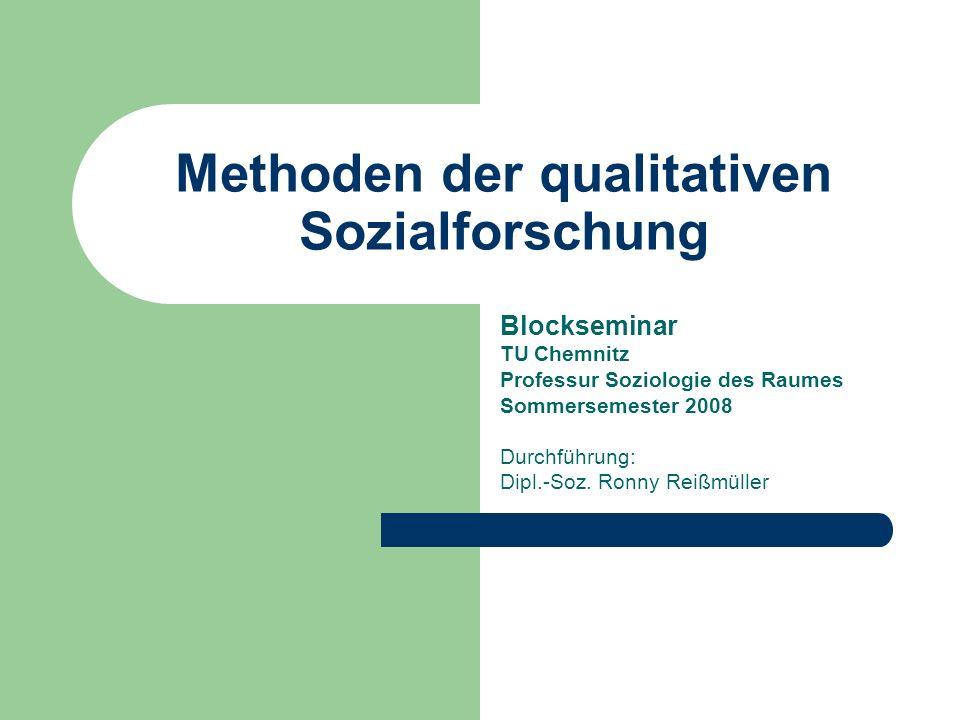 Methoden der qualitativen Sozialforschung