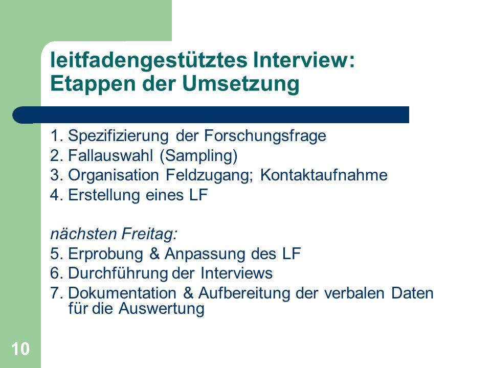 leitfadengestütztes Interview: Etappen der Umsetzung