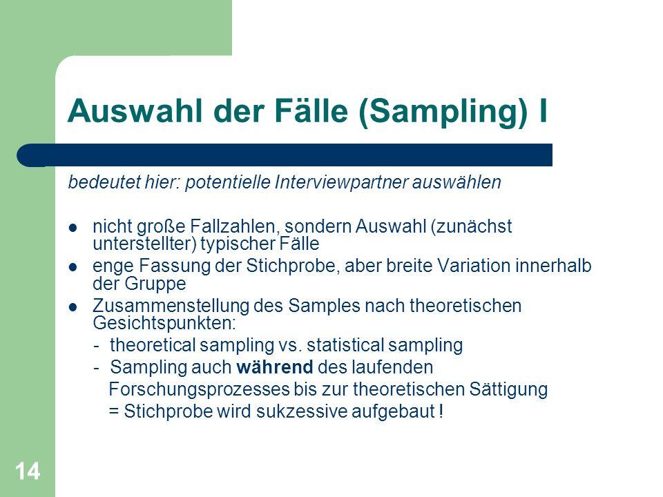 Auswahl der Fälle (Sampling) I
