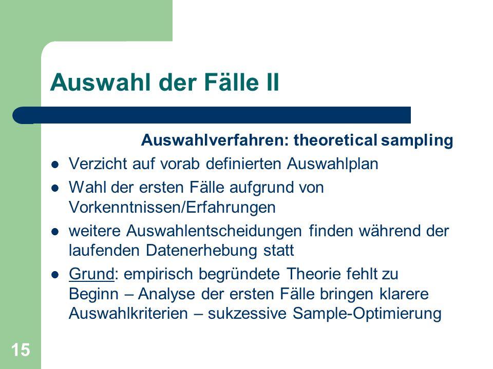 Auswahl der Fälle II Auswahlverfahren: theoretical sampling