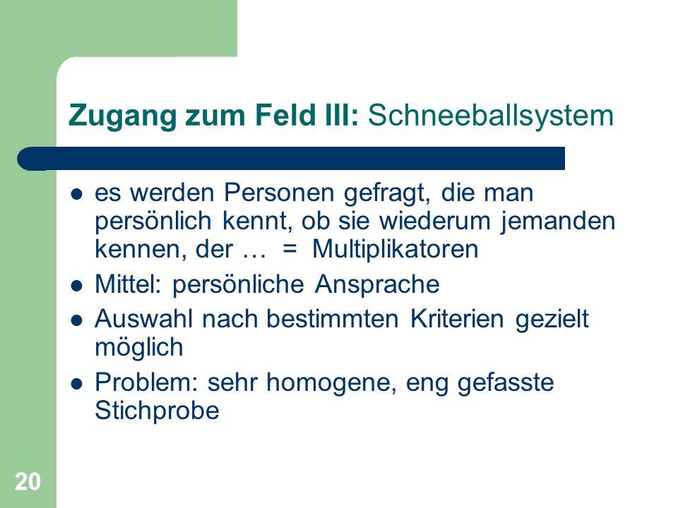 Zugang zum Feld III: Schneeballsystem