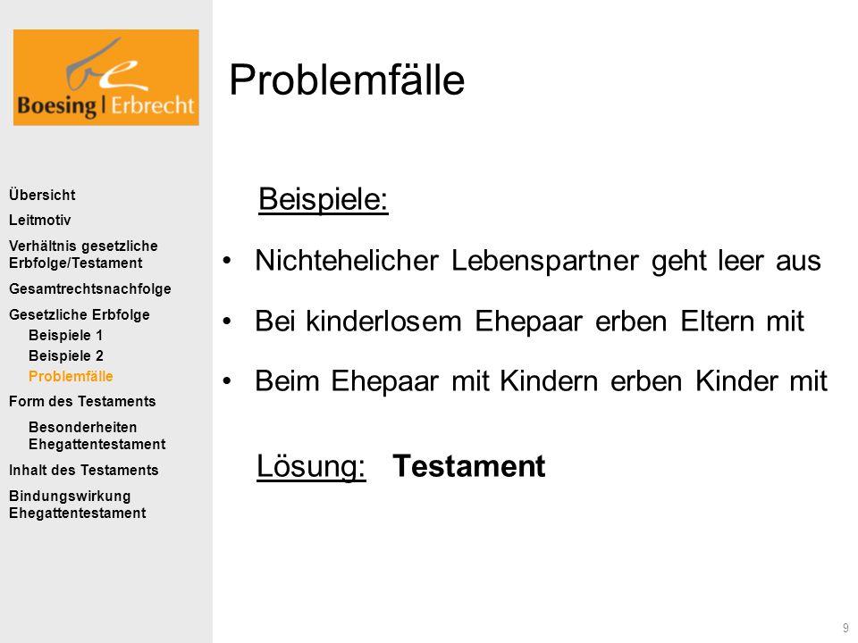 Problemfälle Beispiele: Lösung: Testament
