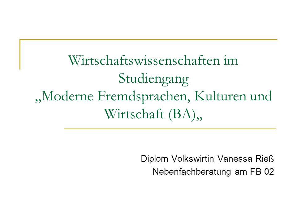 Diplom Volkswirtin Vanessa Rieß Nebenfachberatung am FB 02