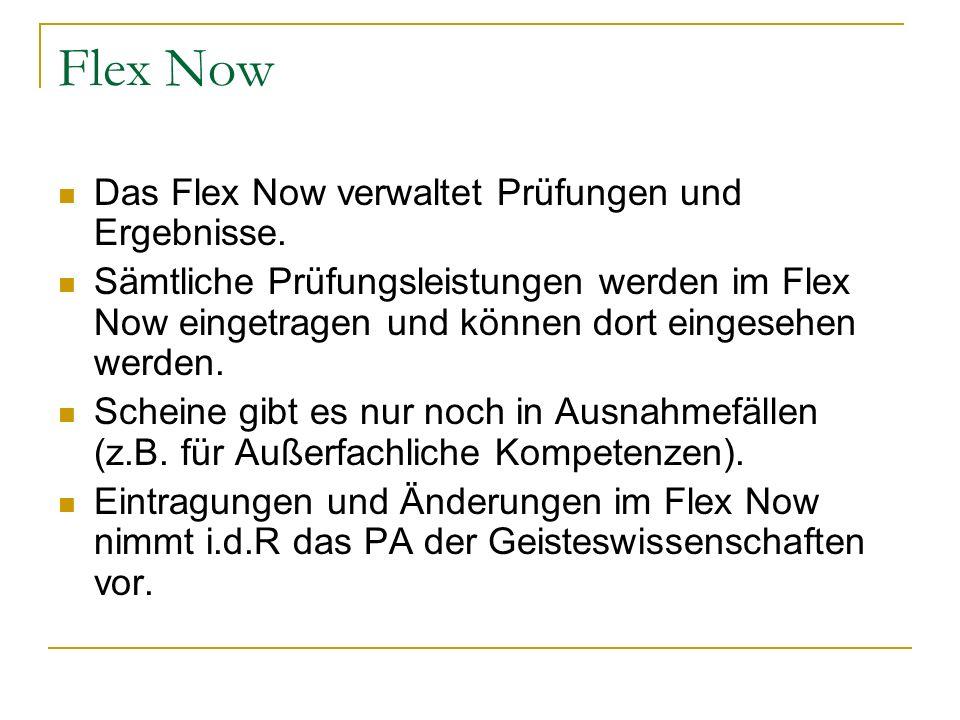 Flex Now Das Flex Now verwaltet Prüfungen und Ergebnisse.