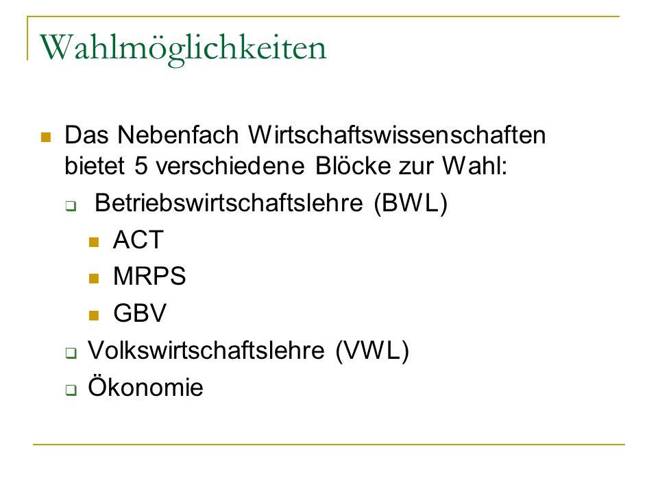 Wahlmöglichkeiten Das Nebenfach Wirtschaftswissenschaften bietet 5 verschiedene Blöcke zur Wahl: Betriebswirtschaftslehre (BWL)