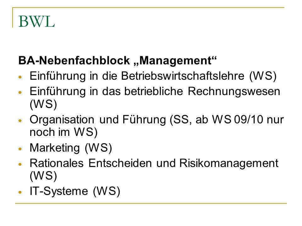 "BWL BA-Nebenfachblock ""Management"