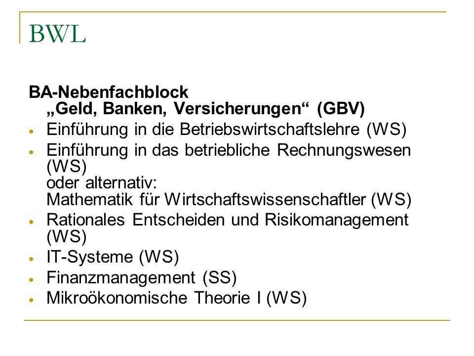 """BWL BA-Nebenfachblock """"Geld, Banken, Versicherungen (GBV)"""
