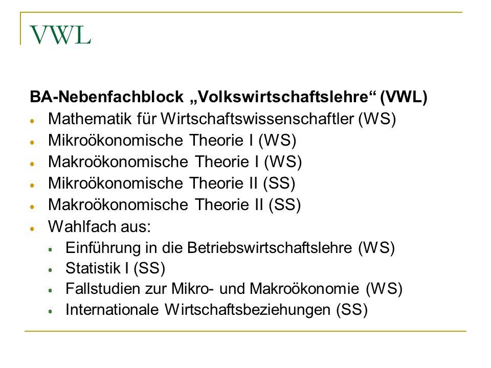 """VWL BA-Nebenfachblock """"Volkswirtschaftslehre (VWL)"""