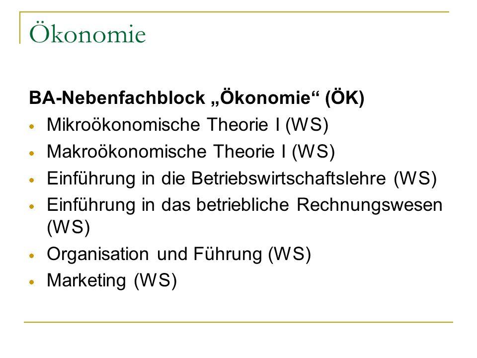 """Ökonomie BA-Nebenfachblock """"Ökonomie (ÖK)"""