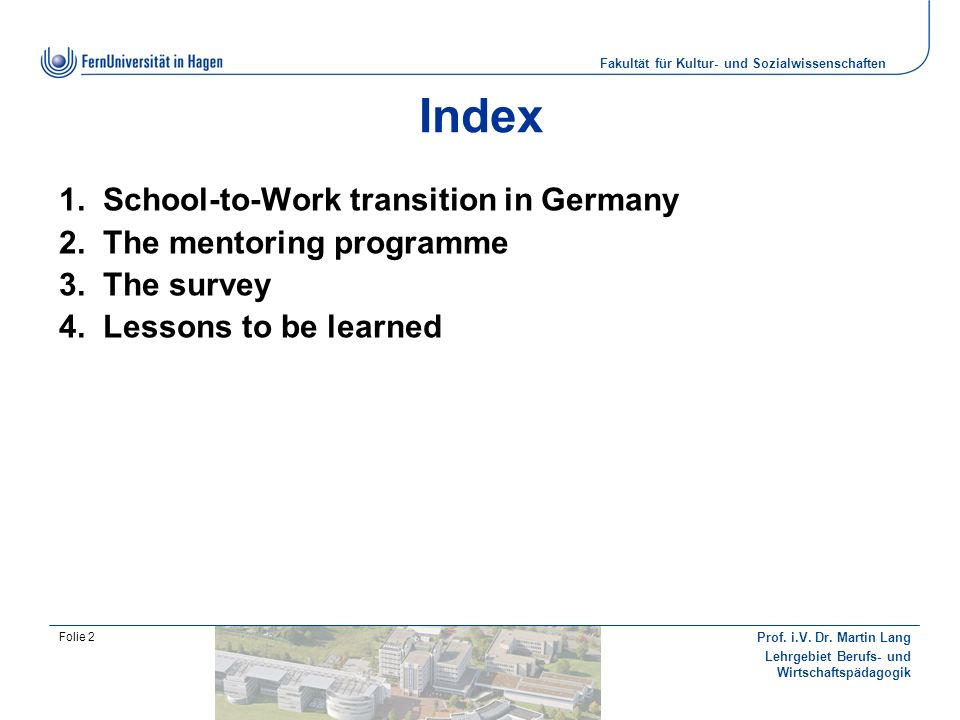 Index School-to-Work transition in Germany The mentoring programme