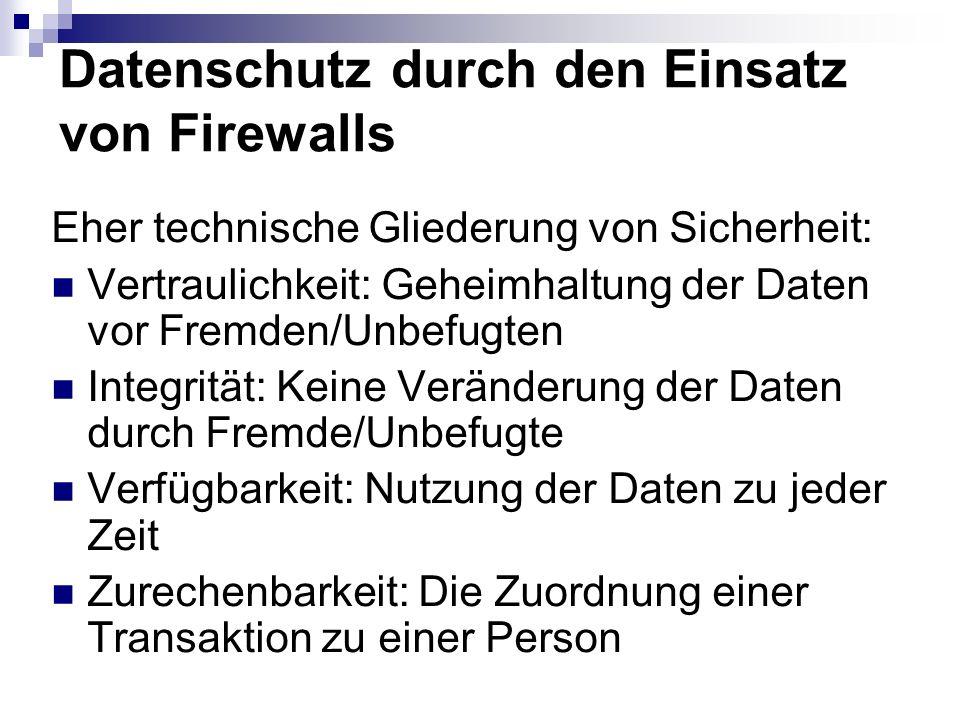 Datenschutz durch den Einsatz von Firewalls