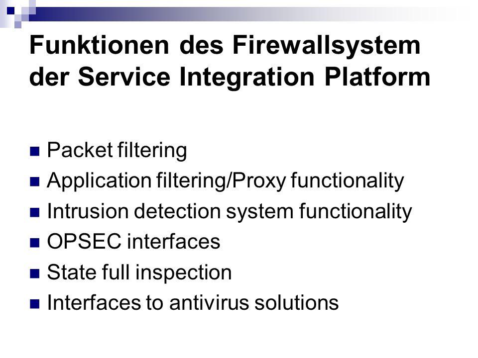 Funktionen des Firewallsystem der Service Integration Platform