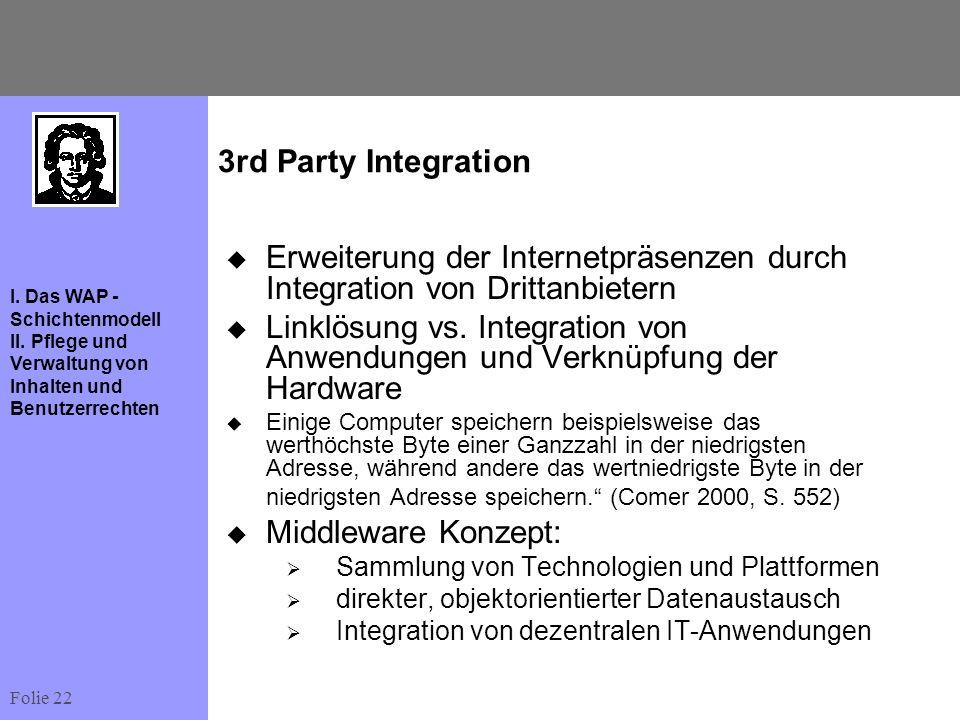 Erweiterung der Internetpräsenzen durch Integration von Drittanbietern