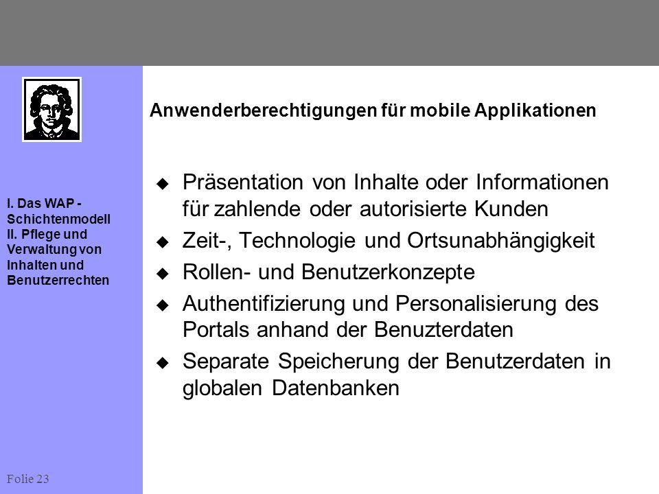 Anwenderberechtigungen für mobile Applikationen