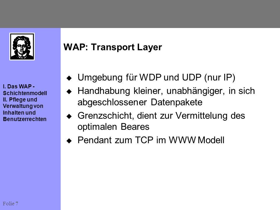 WAP: Transport LayerUmgebung für WDP und UDP (nur IP) Handhabung kleiner, unabhängiger, in sich abgeschlossener Datenpakete.