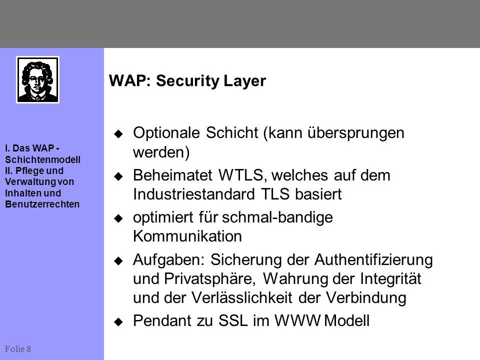WAP: Security LayerOptionale Schicht (kann übersprungen werden) Beheimatet WTLS, welches auf dem Industriestandard TLS basiert.