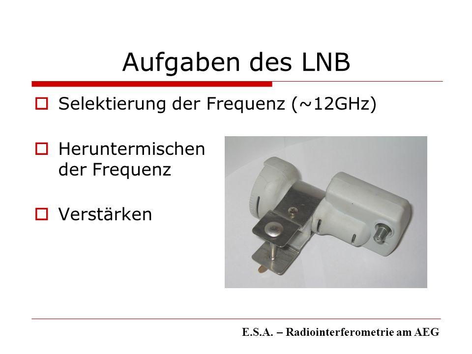 Aufgaben des LNB Selektierung der Frequenz (~12GHz)